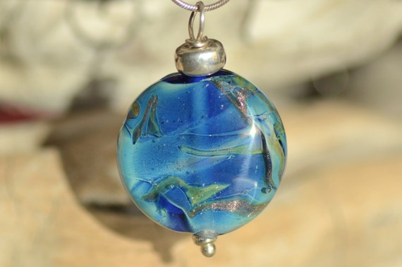 """Galaxy"" pendant blue lampwork with aventurine and Sterling Silver 925 bead"