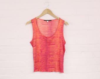 27d504b46a 90s roberto cavalli tank top · orange snake print 90s shirt · 90s snakeskin  print top · 1990s roberto cavalli y2k 90s club top · large