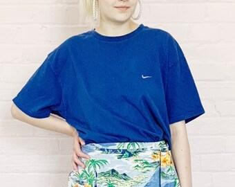 ad21bd66 vintage 90s nike burnout tee · navy nike tshirt · large nike shirt · worn  in nike shirt · 90s nike basketball tee · 1990s nike sport · large