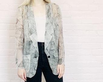 dd4a67d7db5 white chiffon blazer jacket with black abstract swirls · lightweight blazer  · transparent gauzy jacket · chiffon jacket · organza blouse · L