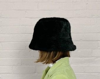 745b394ac7223a 90s faux fur bucket hat black · furry 90s bucket hat · fuzzy black bucket  hat · 90s tall brim hat · bucket hat 90s · black fur hat one size