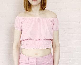 a99fed94639ff9 super stretchy gauze 90s pink peasant top · 90s ruffle top · 90s pink belly  top · 90s pink crop top · 1990s mesh shirt · y2k club shirt · L