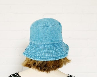 2bbd196644b4c blue jean bucket hat · denim 90s bucket hat · snap up denim bucket hat ·  90s rolled brim hat · medium wash blue denim early 90s hat · os