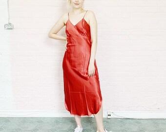 90506d58b6cd rosy copper silk maxi dress · strappy floor length cocktail dress · burnt  rose silk long dress · metallic 90s lingerie slip dress · small