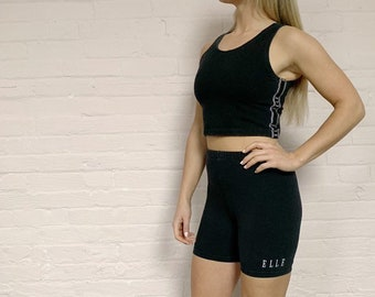 4abbf66645d 90s elle workout set · 90s two piece crop top and shorts set · 90s bike  shorts · 90s sports bra · 90s workout gear · 90 ghetto goth set · L