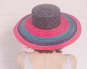59aea6a2 1980s multicolor straw wide brim hat · 80s straw hat · wide brim hat · straw  sun hat · vintage straw hat · wide brim sun hat · woven hat