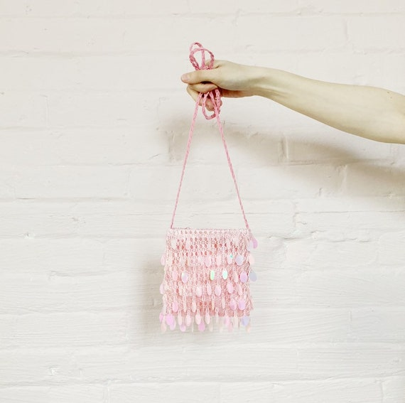 baby pink party purse with iridescent beads · 90s