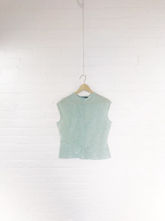90s silver sparkle high neck sleeveless blouse · 9