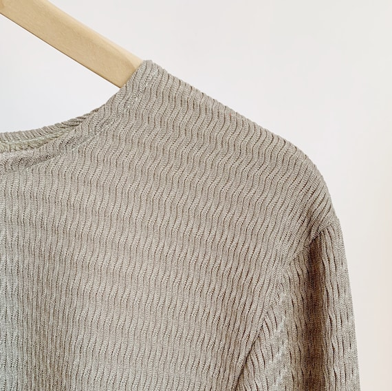 1970s champage knit two piece knit · metallic 70s… - image 3