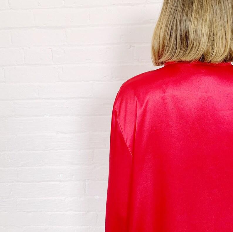 satiny red button-up front jacket with mandarin collar \u00b7 loose mandarin collar blouse \u00b7 embroidered satin blouse \u00b7 red satin lingerie top L