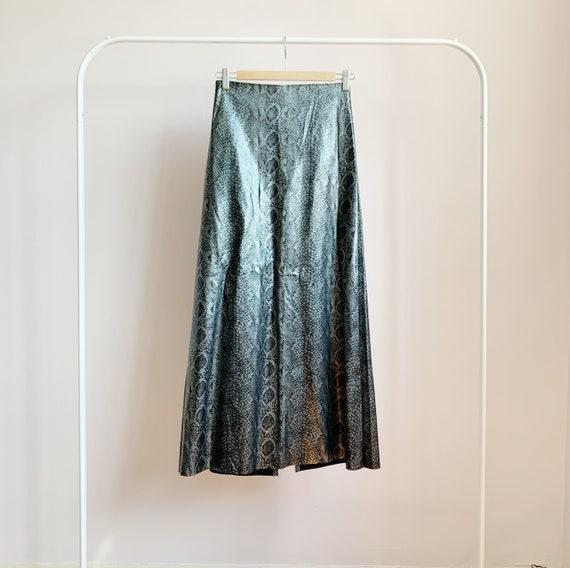 high waisted 'snake skin leather' maxi skirt · met