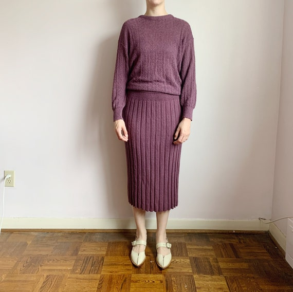 deep dusty purple knit top and sweater skirt set ·