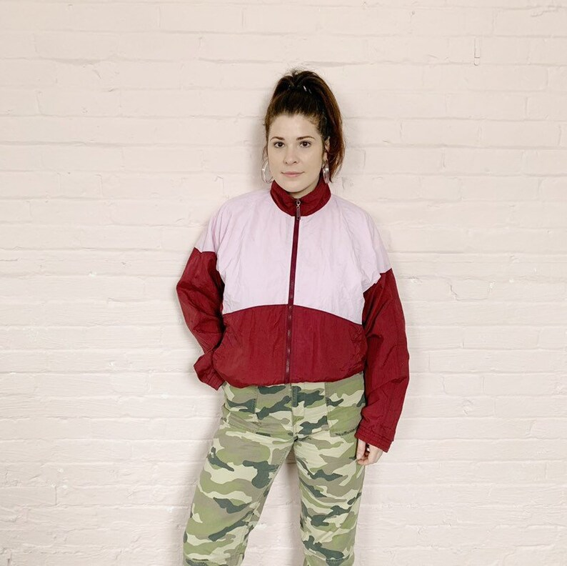 a30de7d5f pink puma windbreaker · 90s puma jacket · vintage puma · rose bomber jacket  · pink windbreaker 90s · pink purple windbreaker jacket · medium