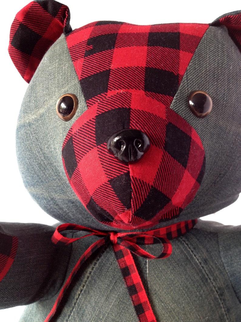 Denim Bear  Handmade  Up-cycled  Teddy Bear image 0