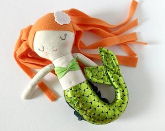 Mermaid cotton doll  - first doll mermaid - red hair - ginger - green mermaid tail - freckles