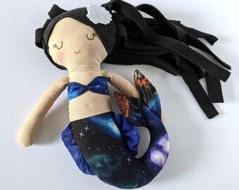 Mermaid cotton doll  - first doll mermaid - black hair - galaxy tail - space - fantasy creature