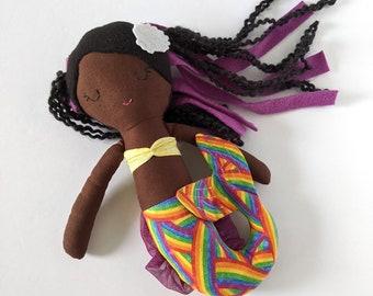 Mermaid cotton doll  - first doll mermaid - black hair - Rainbow tail - Personalized - black - biracial