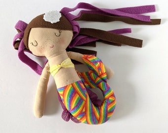 Mermaid cotton doll  - first doll mermaid - brown hair with purple highlights - Rainbow tail - Personalized