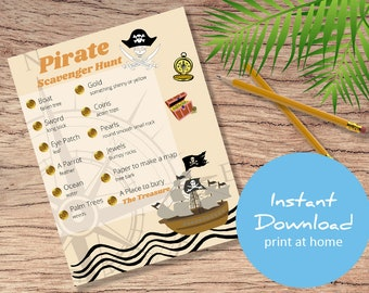 Pirate Scavenger Hunt Printable - Treasure Hunt Party Game Activity  - Printable for Birthday Party - Sleepover - indoors and outdoors