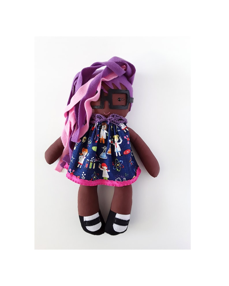 Geek baby cloth doll with pink and purple hair  Jeannette a image 0