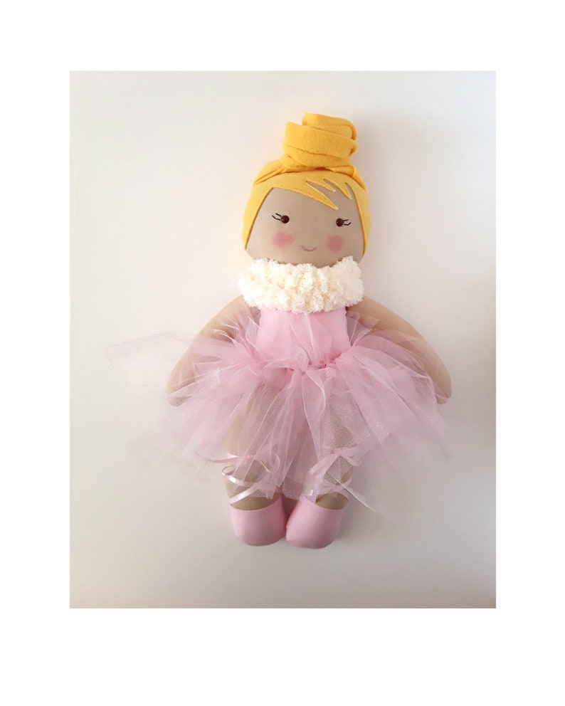 Handmade textile doll ballerina named Anna  in a pink tutu image 0