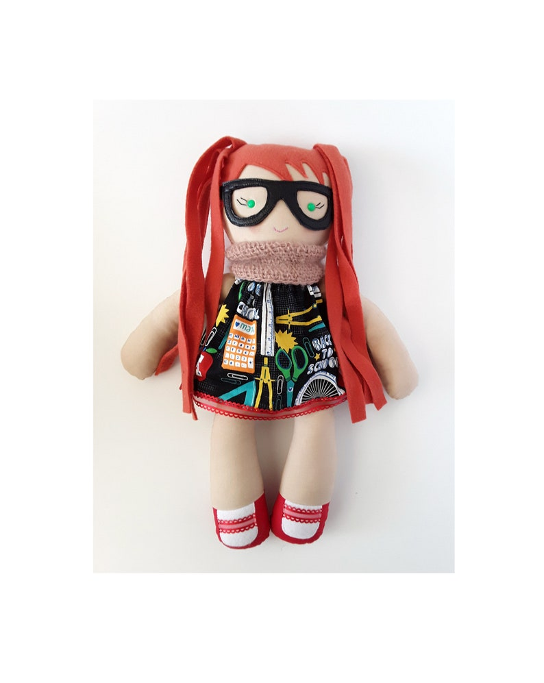Ginger soft textile cotton doll with glasses  Hypatia  math image 0