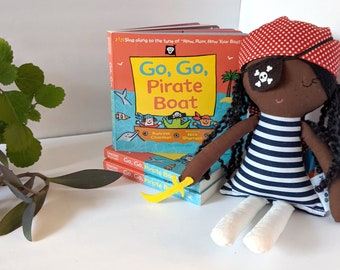 Pirate cotton rag black doll and book set - biracial doll