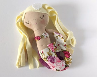 Mermaid cotton doll  - first doll mermaid - blond hair - floral tail - tea rose - French country - Personalized