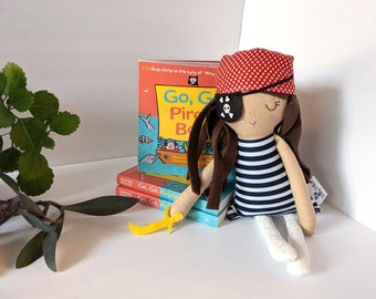 Pirate cotton rag doll and book set
