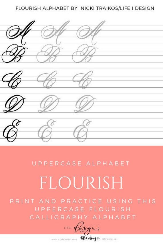 Flourish Uppercase Calligraphy Lettering Worksheets Etsy