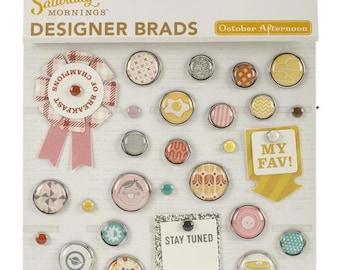 October Afternoon Saturday Mornings Designer Brads