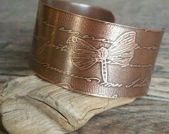 Etched Copper Cuff Bracelet Butterfly and Script
