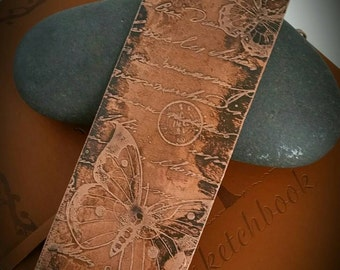 Butterfly and Script Etched Copper Keepsake Bookmark