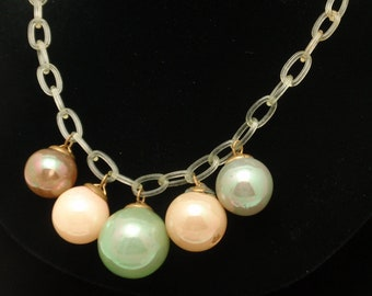 Glass Balls on Celluloid Chain Vintage Necklace