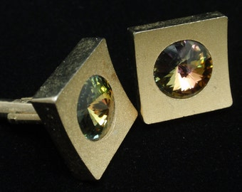 Square Cuff Links with Rivoli Stones
