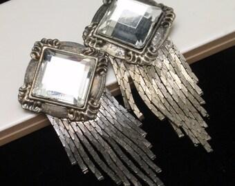 Mirror Finish Tassel Earrings Large Vintage