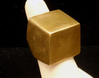 Bronze Cube Statement Ring Vintage