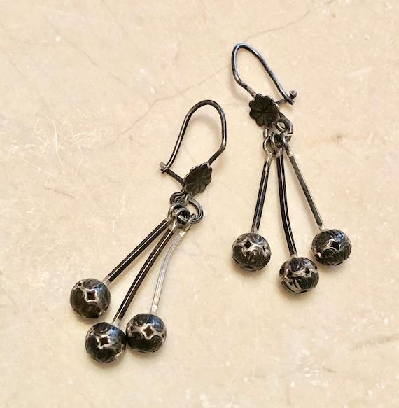Vintage Mexican Filigree Ball Drop Dangle Earrings