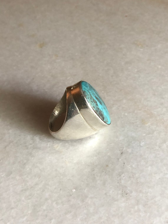 Vintage Sterling Silver Turquoise Mixed Gemstone Oval Dome Ring Size 6