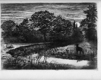 "P.G. HAMERTON Original Etching, ""Moonrise on the Ternin"""