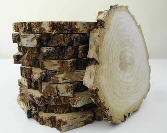 """Bark Wood Tree Slabs, Natural Bark Wood Rounds, Rustic Wood Slices, Tree Rounds, Wood Circles, Wedding Centerpiece Wood, Crafting Wood, 4"""""""