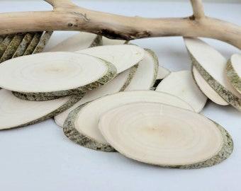 Oval Solid Wood Tree Slices - Small Rowan Oval Wood Slices 12pcs