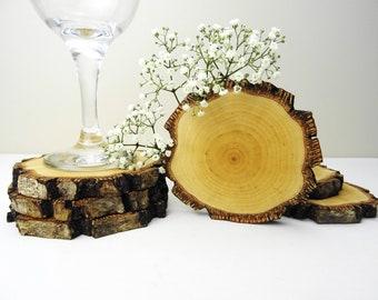 Modern Rustic Wood Coaster Set - Live Edge Natural Wood Coasters - Gifts of Wood
