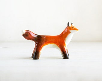 Animal Totem Red Fox, fox totem tiny figurine, orange home decor, tiny pocket zoo, orange and white