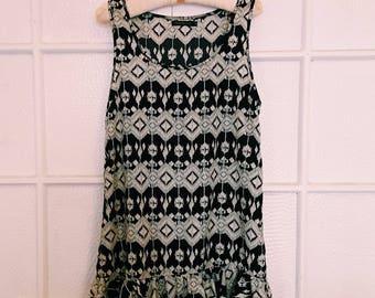 Vintage Black & White Print Drop Waist Dress