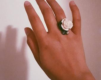 White Rose Enamel Ring