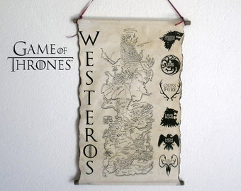 Map of Westeros  Game of Thrones Map GoT Map Poster Game of Thrones Houses Coat of Arms on Handmade Scroll