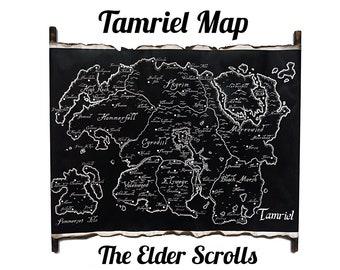 Map of Tamriel The Elder Scrolls Black Map on HANDMADE Scroll, The Elder Scrolls Map, TES Map, Tamriel Map, Skyrim Map Elder Scrolls Art Map