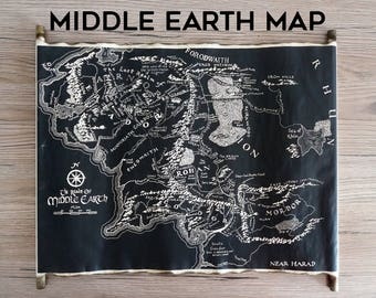 map of middle earth handmade scroll black map of middle earth tolkien map lord of the rings map the hobbit map