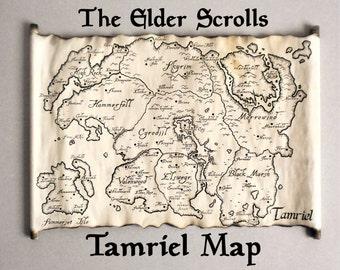 Map of Tamriel The Elder Scrolls Black Map on HANDMADE Scroll | Etsy